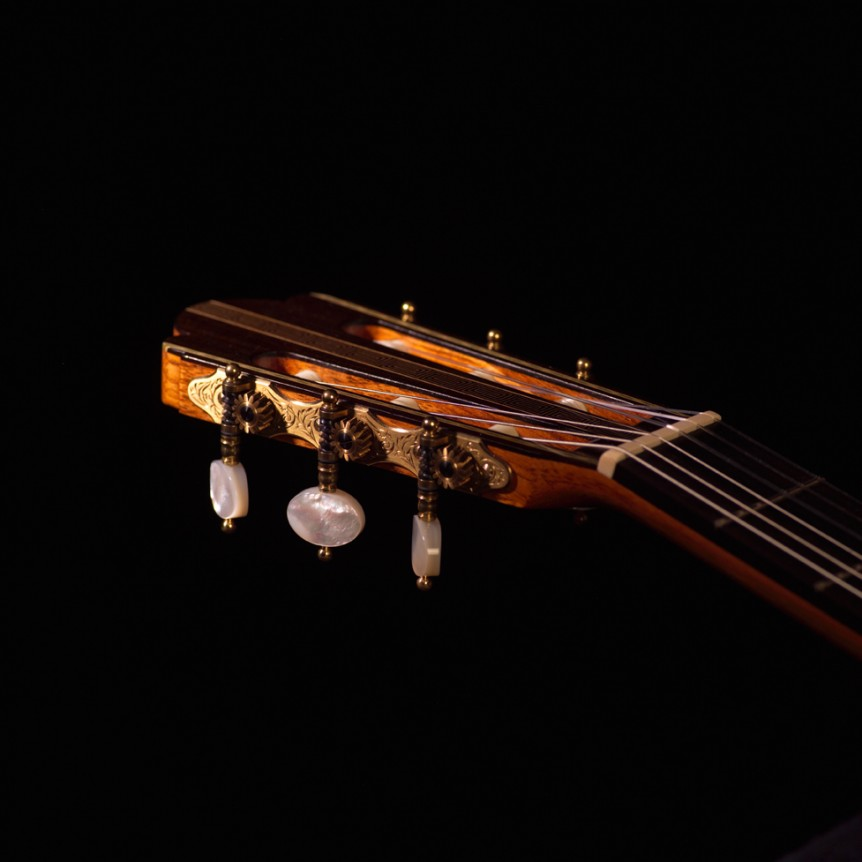 Headstock, Tuning Keys - Side View | Daryl Perry Classical Guitars
